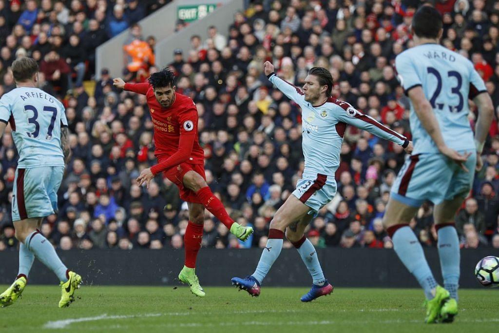 Emre Can menyumbatkan gol kedua Liverpool dalam kemenangan 2-1 mereka ke atas Burnley dalam perlawanan EPL di Anfield pada Ahad (12 Mac).