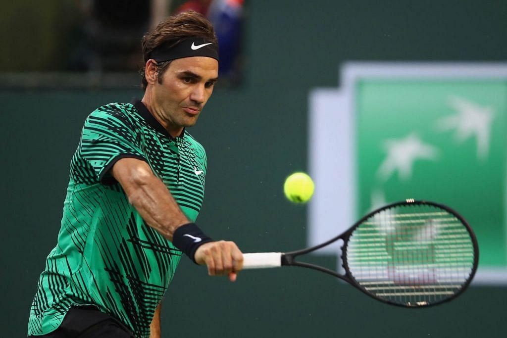 Roger Federer menang dengan straight set ke atas Rafael Nadal dalam perlawanan pusingan keempat Terbuka BNP Paribas di Indian Wells, California,  pada 15 Mac 2017.