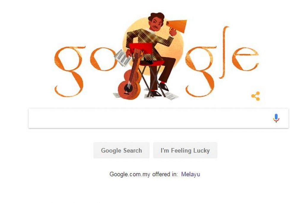 PENGHARGAAN BUAT SEORANG SENIMAN: Google memaparkan 'doodle' atau coretan wajah seniman P. Ramlee sempena kelahirannya hari ini 88 tahun lalu. Sepanjang perjalanan seninya, P. Ramlee merupakan seorang pelakon, pengarah, penulis dan komposer prolifik yang telah menyumbang lebih dari 60 karya filem dan menggubah sekitar 250 lagu.  - Foto BERITA HARIAN