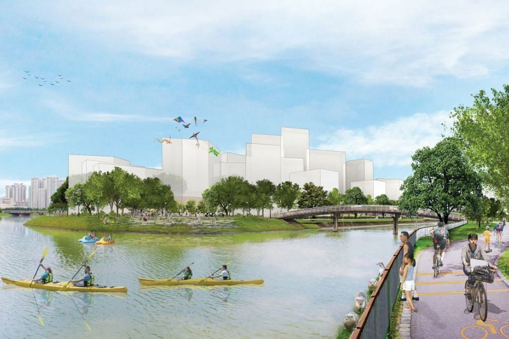 AKAN DATANG: Gambaran wajah baru Kallang Distripark yang berpotensi dibangunkan yang turut merangkumi pembangunan perumahan, taman dan ruang riadah. - Foto URA