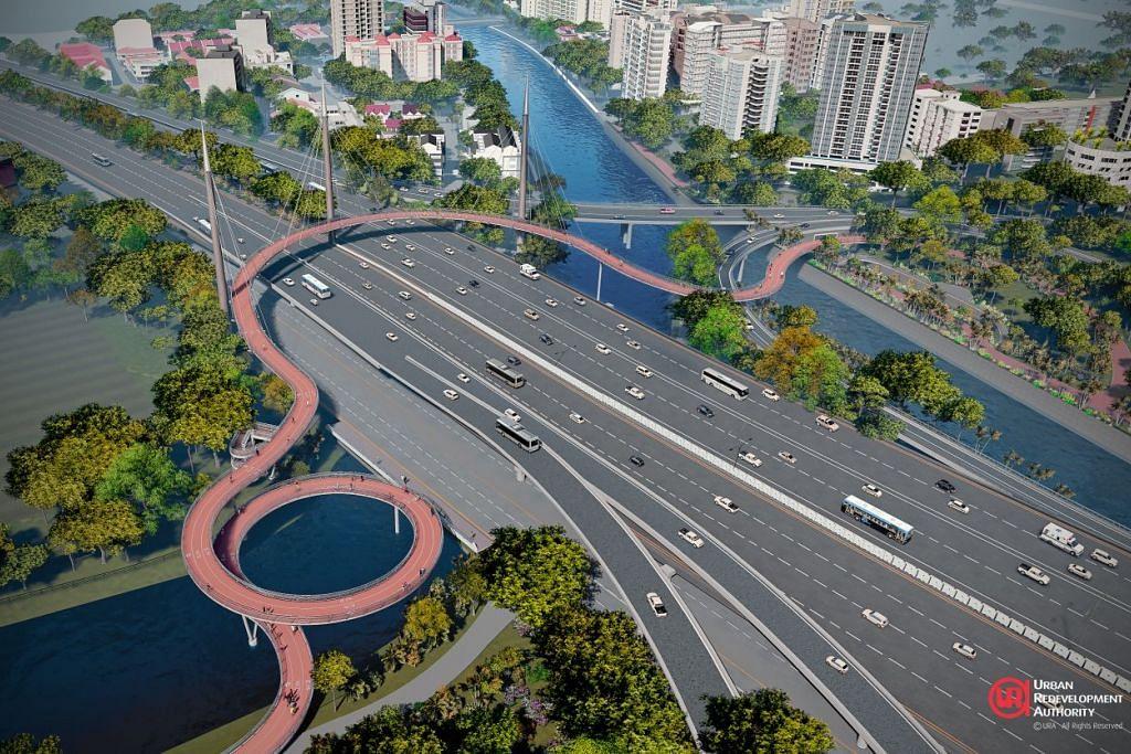 BAYANGAN MASA DEPAN: Jambatan ini akan membolehkan mereka yang berlari-lari anak dan penunggang basikal untuk merentasi Lebuh Raya Rentas Pulau (PIE) dengan lebih mudah. - Foto: URA