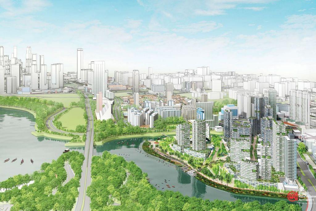 SUASANA PERMAI: Kampong Bugis akan dibangunkan menjadi satu kawasan perumahan yang menarik yang menjurus kepada pembangunan mampan, yang menyaksikan ia mengurangkan penggunaan kereta dan lebih mesra penduduk. - Foto: URA