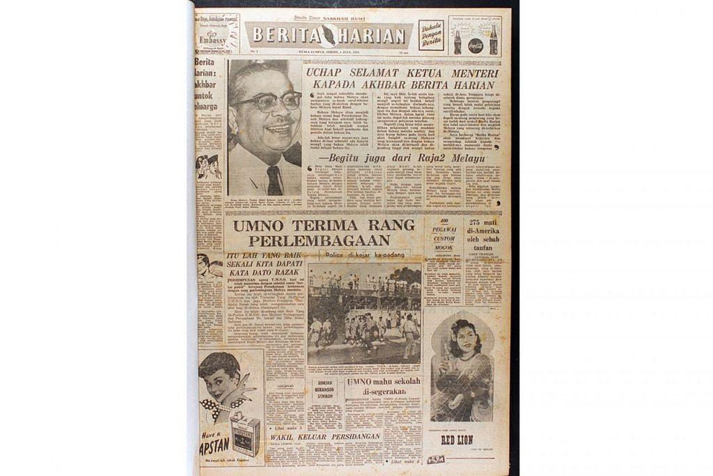 TERBITAN PERTAMA: Akhbar Berita Harian keluaran pertama pada 1 Julai 1957.