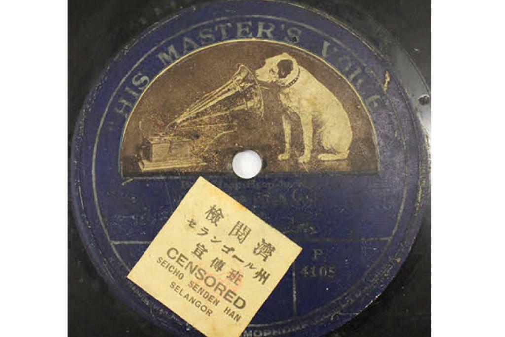 DITAPIS: Pelekat 'CENSORED' pada piring hitam lagu 'Boria Heap-Heap-Horrey' pada 1916 bermakna lagu itu telah ditapis semasa penjajahan Jepun dan dibenarkan untuk dimainkan.