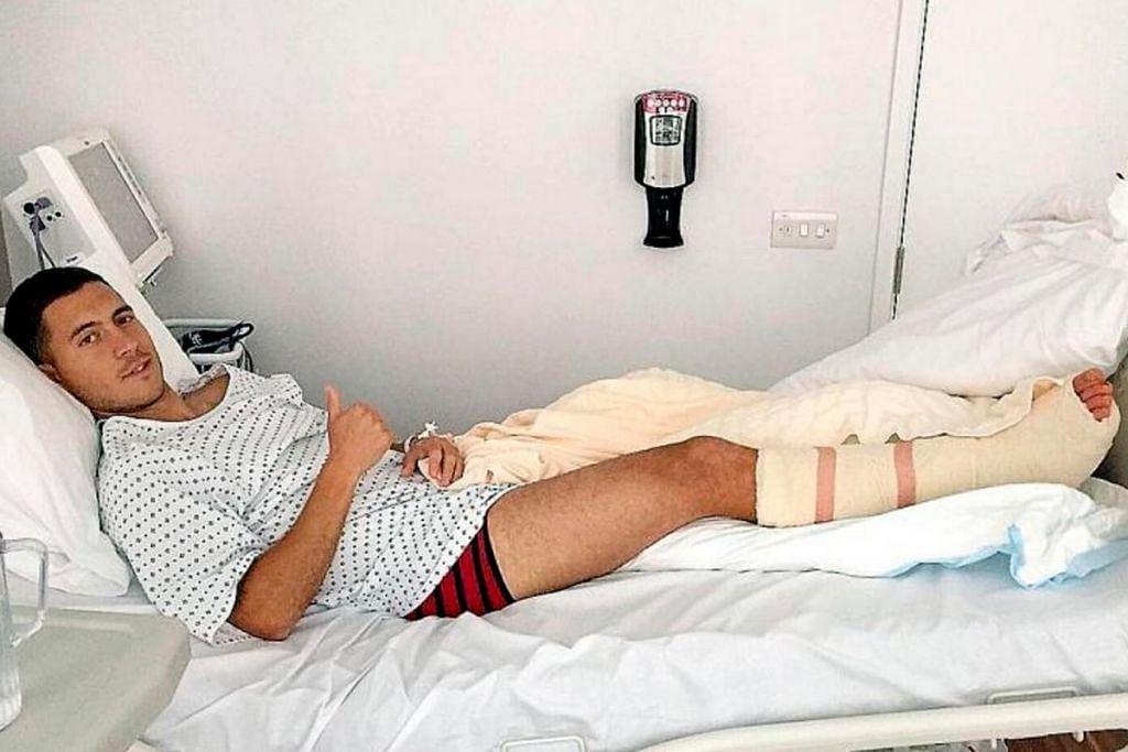 DI KATIL HOSPITAL: Eden Hazard menjalani pembedahan buku lali kanannya dan dijangka tidak dapat beraksi selama tiga bulan. -  Foto TWITTER