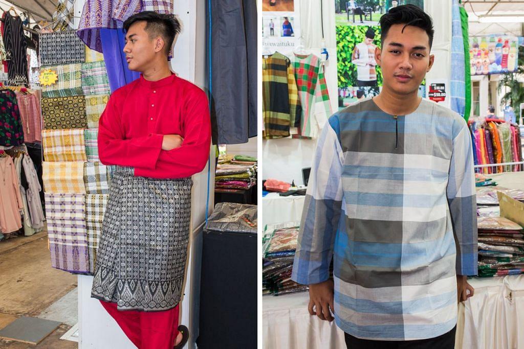 MENIMBANG PILIHAN: Encik Muhammad Iman mencuba baju Melayu di gerai A'niz (kiri) dan baju yang diilhamkan daripada kain pelekat di gerai Nawaituku (kanan). – Foto-foto ZALEHA ABDUL KADER