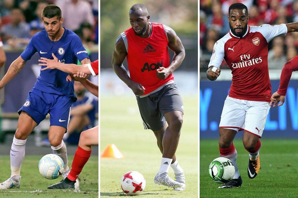 (Dari kiri) Alvaro Morata, Romelu Lukaku, Alexandre Lacazette. - Foto-foto AFP, REUTERS