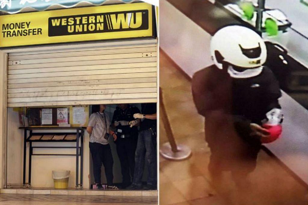 GUNAKAN PISAU UNTUK ROMPAK: Suspek perompak (kanan) di Western Union cawangan Ubi di Ubi Avenue 1 (kiri) semalam, yang bersenjatakan pisau, memaksa pekerja di situ menyerahkan lebih $2,000 kepada nya. - Foto PASUKAN POLIS SINGAPURA