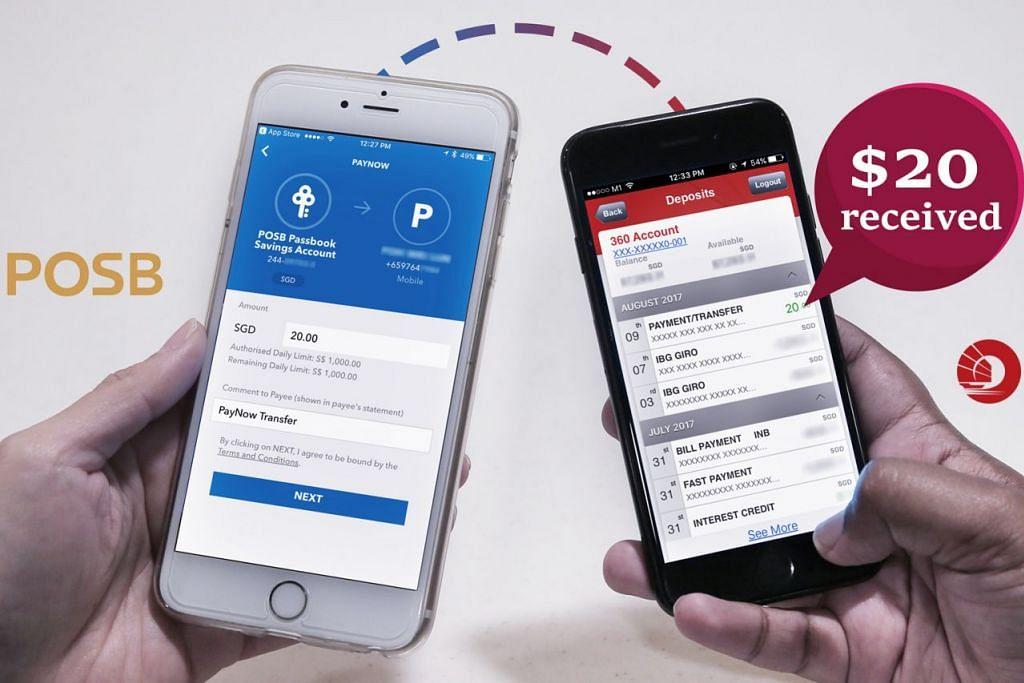 PINDAH WANG: Melalui PayNow, pengguna daripada bank berbeza boleh mengalihkan duit kepada pengguna lain dengan pantas dengan hanya menggunakan nombor telefon bimbit.  - Foto fail