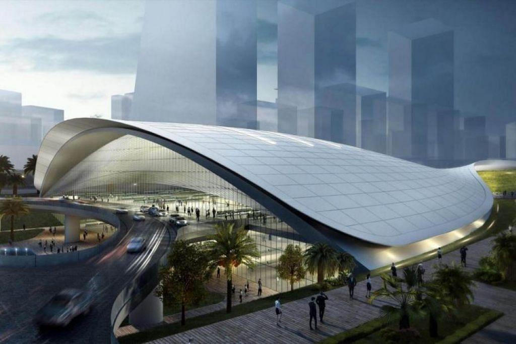 PROJEK HSR: Lakaran artis perhentian HSR Kuala Lumpur-Singapura di Jurong East.