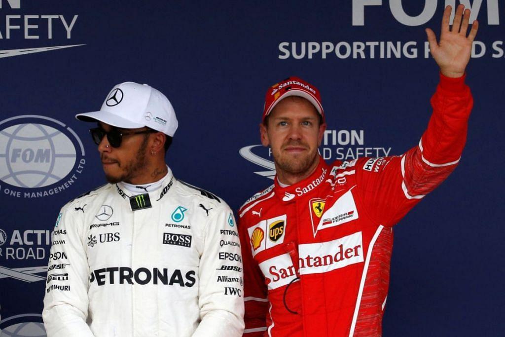 PESAING UTAMA: Hamilton (kiri) dan Vettel bergambar bersama selepas pusingan kelayakan di Suzuka, Jepun