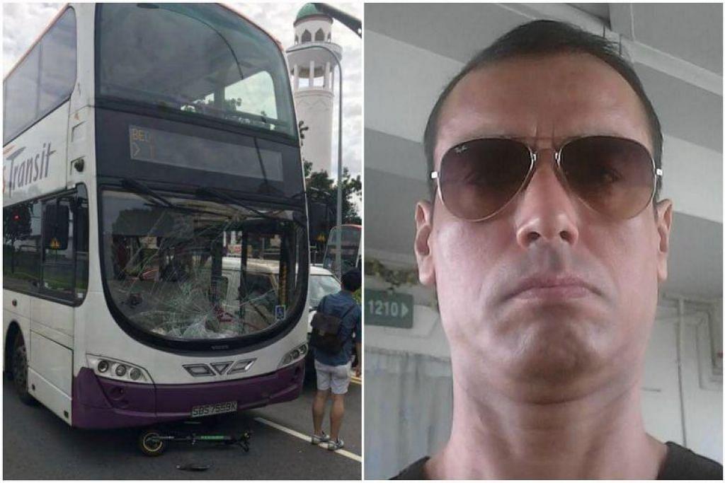 TERSEPIT DI BAWAH BAS: E-skuter yang ditunggang mangsa kelihatan tersepit di bawah bas dua tingkat SBS Transit selepas kemalangan pagi semalam.  Gambar sisipan: Allahyarham  Atan Amat.