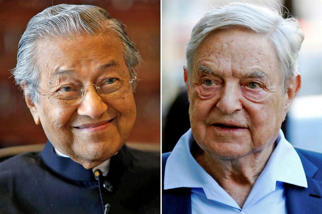 YANG UNTUNG DAN YANG RUGI: Spekulator George Soros (kanan) mengaup untung AS$1 bilion dan gelaran 'Orang Yang Memufliskan Bank of England' kerana meramal dengan tepat nilai paun sterling akan jatuh. Beliau juga untung besar daripada perdaga ngan mata wang franc Perancis, lira dan mark. Sebaliknya, Bank Negara Malaysia rugi besar kerana tersilap dalam ramalannya. Rizab Federal Amerika pernah menasihatkan Bank Negara supaya mengurangkan taruhannya kerana ia tidak berkadar dengan rizab tukaran wang asing Malaysia. Nasihat itu diabaikan. Perdana menteri ketika itu, Tun Dr Mahathir (kiri), dan gabenor Bank Negara, Tan Sri Jaffar Hussein, mempertahankan hak Malaysia bermain dalam pasaran forex.