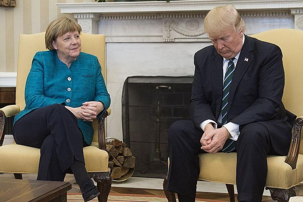 Pertemuan 'tidak selesa' Trump, Merkel