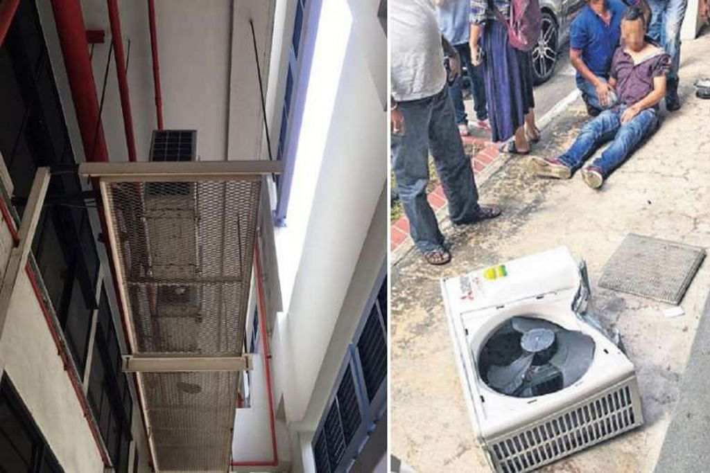 Unit hawa dingin jatuh terkena pekerja di Bedok