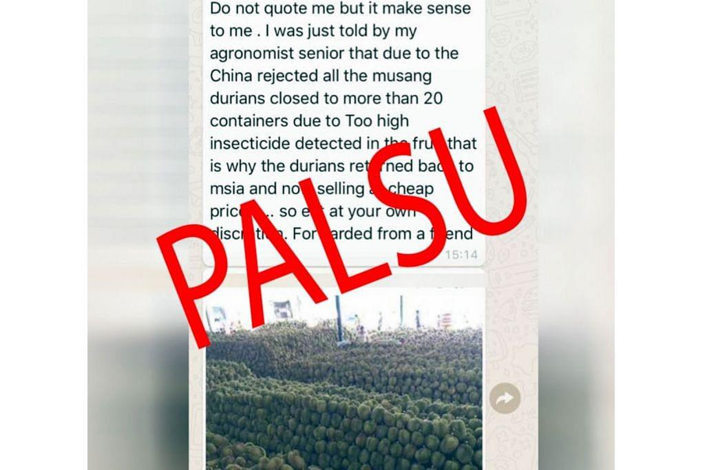M'sia nafi berita durian tidak dibenar masuk China kerana kandungan racun tinggi