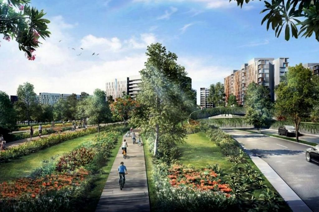 JALAN RAYA BARU: Penduduk boleh berjalan dan menunggang basikal di Bidadari Greenway dekat Bidadari Park Drive.