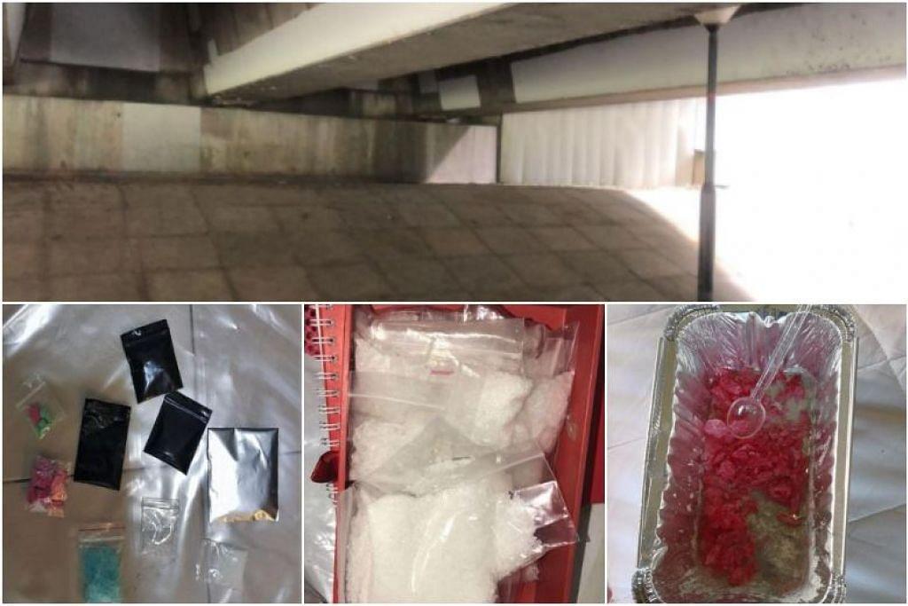 Antara dadah yang dirampas menerusi operasi CNB pada 6 Mac. Gambar atas menunjukkan tempat ketua sindiket dadah yang berusia 34 tahun itu ditangkap CNB, di bawah sebuah jembatan di Punggol Promenade Riverside Walk.