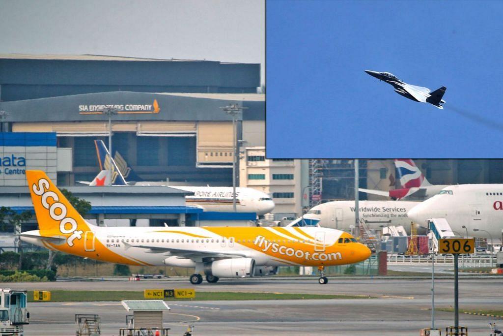 Jet RSAF (gambar sisipan) dikerah iringi pesawat Scoot mendarat selepas terima ancaman. - Foto-foto BH oleh KEVIN LIM
