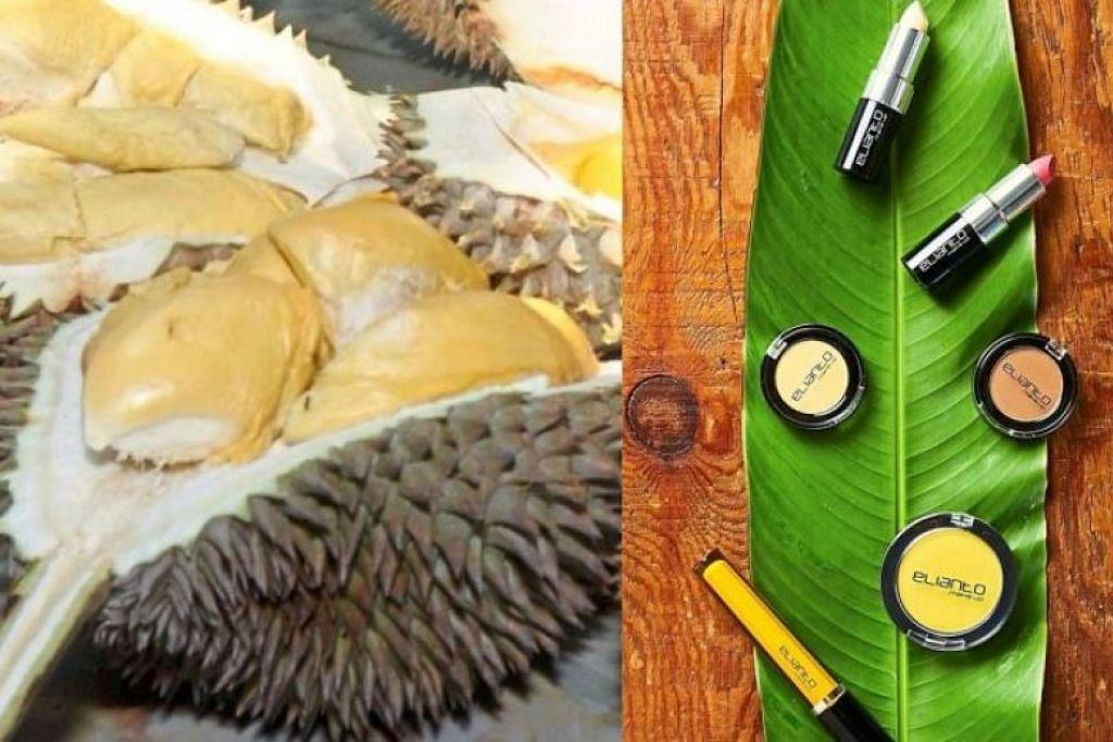 ALAT SOLEK DURIAN: Koleksi Elianto Durian Musang King ini memaparkan pelbagai jenis alat solek yang berwarna kuning, hasil inspirasi daripada isi durian yang turut berwarna kuning.