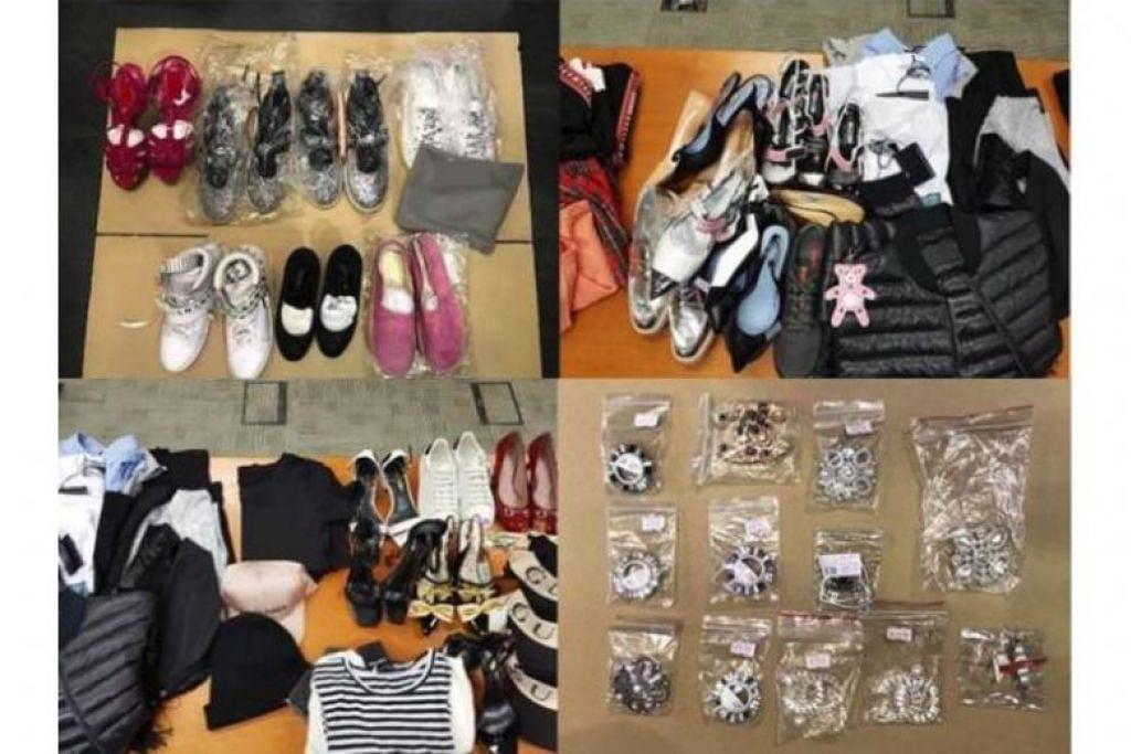 BARANG BERJENAMA PALSU: Barang yang dirampas polis termasuk kasut, pakaian, beg, topi dan aksesori yang dianggarkan bernilai sekitar $77,000.