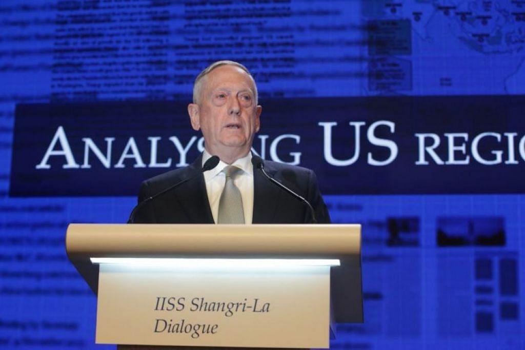 Setiausaha Pertahanan Amerika Syarikat Encik Mattis  berucap di Dialog Shangri La pada 2 Jun.