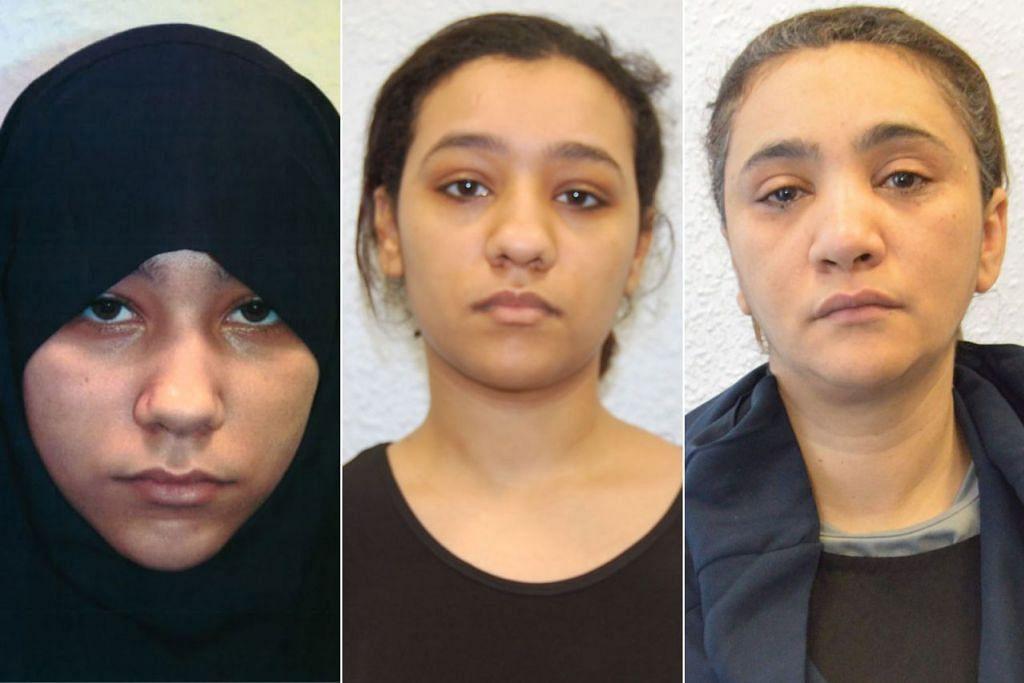 ANAK-BERANAK DIPENGARUHI MILITAN: Setelah Safaa (kiri) ditangkap, Rizlaine (tengah) mengambil alih perancangan bagi serangan terhadap sasaran di London dengan disokong ibu mereka, Mina Dich. - Foto-foto AFP