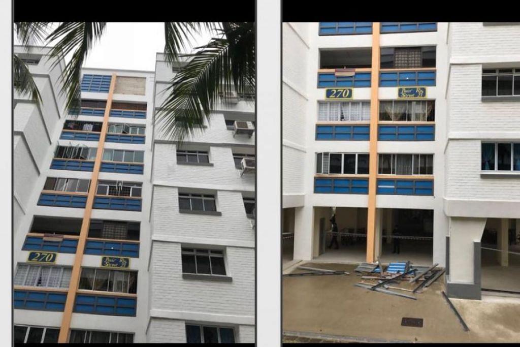 SALUTAN TERLEPAS: Sebahagian salutan pada muka bangunan Blok 270 di Pasir Ris Street 21 terjatuh dari tingkat atas ke bawah.