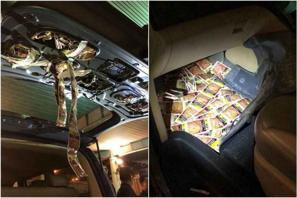 SELUDUP TEMBAKAU KUNYAH: Pegawai ICA menemui 6,821 paket tembakau kunyah yang disembunyikan di beberapa bahagian kereta yang dinaiki seorang warga Malaysia.