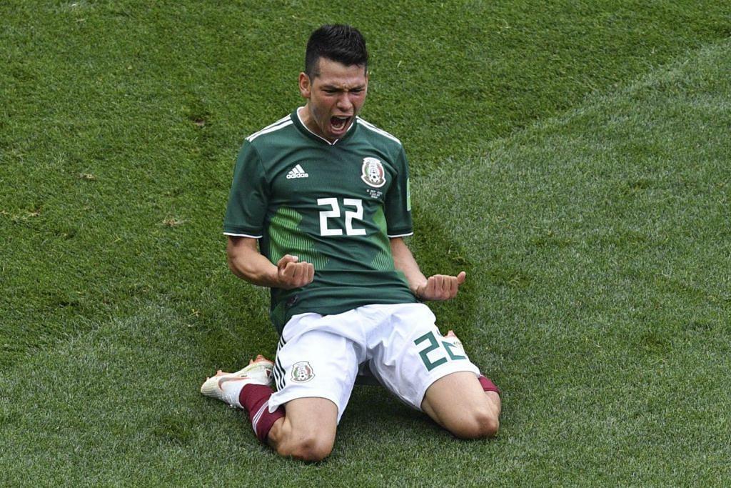 GOL HEBAT: Penyerang muda Mexico, Hirving Lozano, meraikan golnya yang membenam juara bertahan Jerman pada Ahad lalu. - Foto AFP