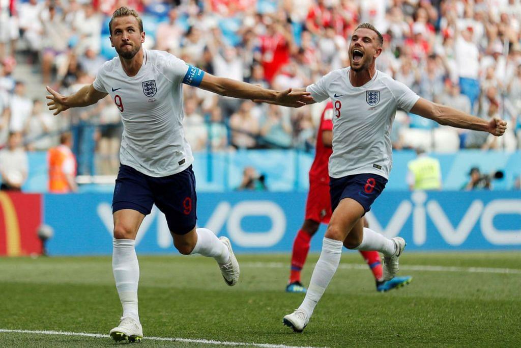 RAI GOL: Penyerang bahaya England Harry Kane (kiri) meraikan bersama pemain Jordan Henderson selepas menjaringkan gol keduanya dalam perlawanan menentang Panama kelmarin. - Foto REUTERS