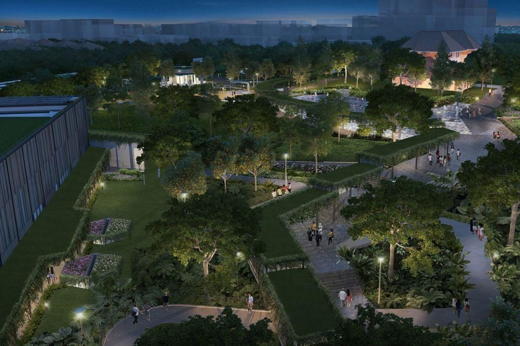 TAMAN UNTUK BERIADAH: Orang ramai juga boleh menjalankan kegiatan di taman rama-rama, yang akan bermandikan cahaya lampu pada waktu malam. - Foto HAB SUKAN DAN MASYARAKAT SEMBAWANG