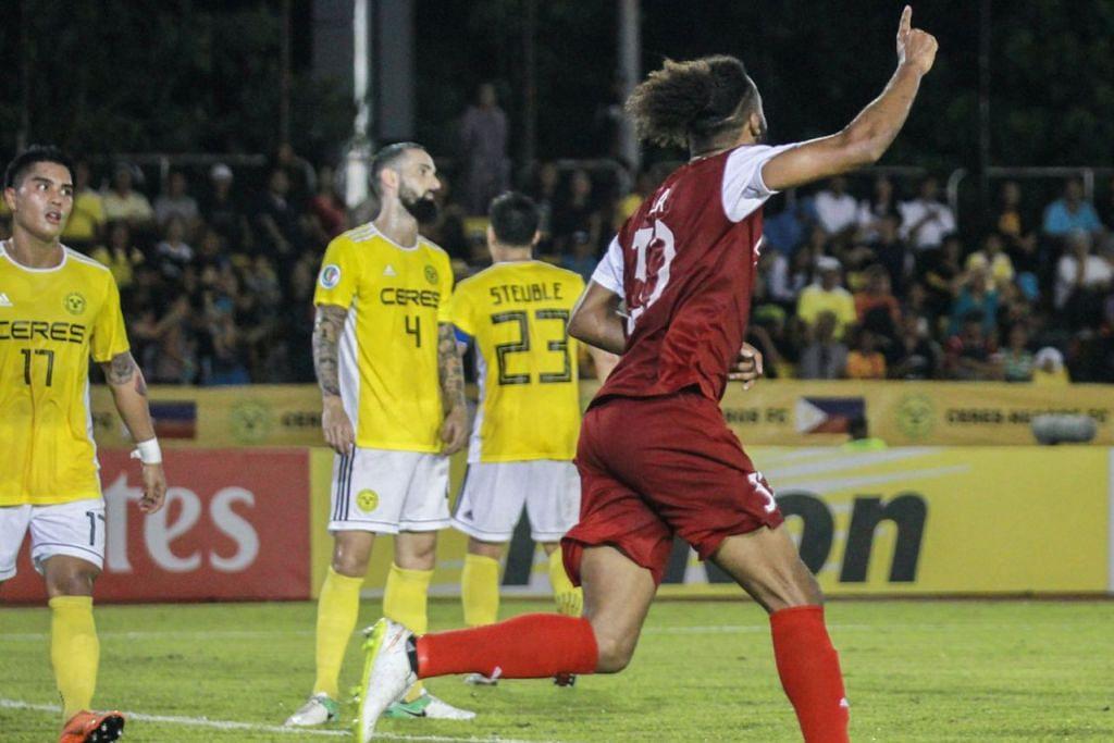 SUMBANGAN PENTING: Pemain baru Home United Isaka Cernak meraikan jaringan gol penyamaannya semasa perlawanan menentang Ceres Negros yang berkesudahan seri 1-1. - Foto FACEBOOK HOME UNITED