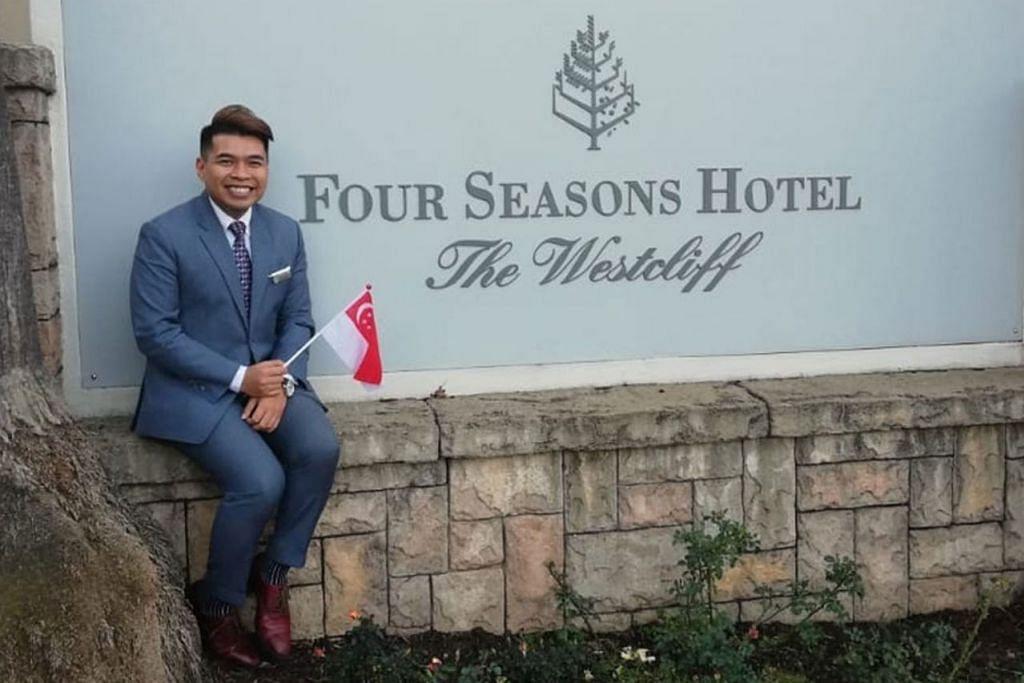 DEMI TUGAS: Encik Muhammad Diniy tidak dapat menyambut Hari Kebangsaan bersama keluarganya di Singapura buat kali pertama kerana sedang bertugas di Johannesburg. - Foto ihsan MUHAMMAD DINIY D HAMZAH