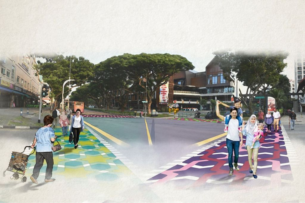 PAPAR CIRI KEBUDAYAAN: Lakaran artis yang menyarankan cara menghiasi simpang berdekatan Wisma Geylang Serai, Pasar Geylang Serai dan Joo Chiat Complex. - Foto URA