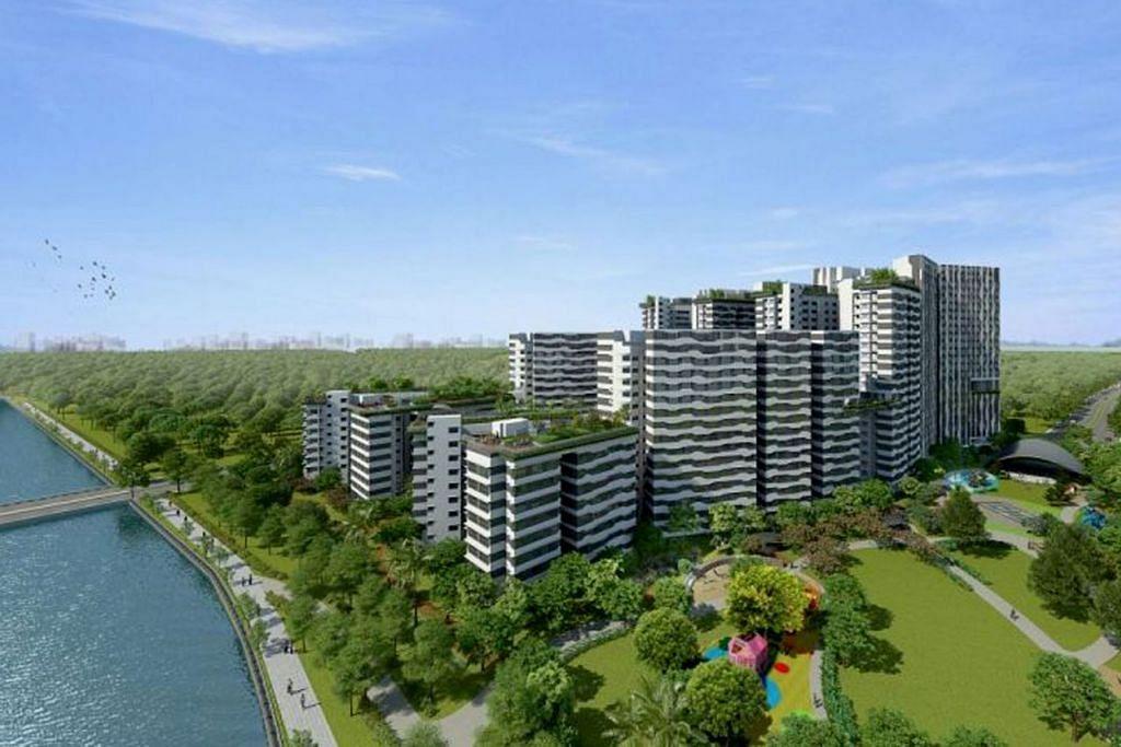 BAKAL DILANCAR: Projek Punggol Point Cove ini menawarkan 1,172 unit flat dan dijangka siap menjelang 2023. - Foto HDB