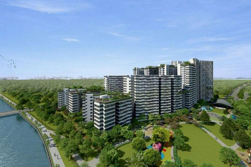 PUNGGOL COVE POINT: Sebanyak 1,172 unit flat yang terletak bertentangan stesen MRT baru Punggol Coast ini dijangka selesai dibina pada 2023. - Foto HDB