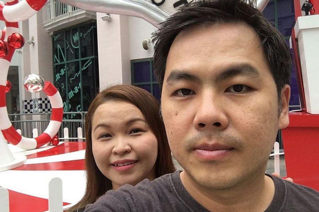 (Kiri) Cik Choo dan suaminya Encik Teh. Kaki kiri Cik Choo patah manakala suaminya mengalami retak di kededua tangan dan kecederaan pada tiga jari. FOTO: Janice Choo