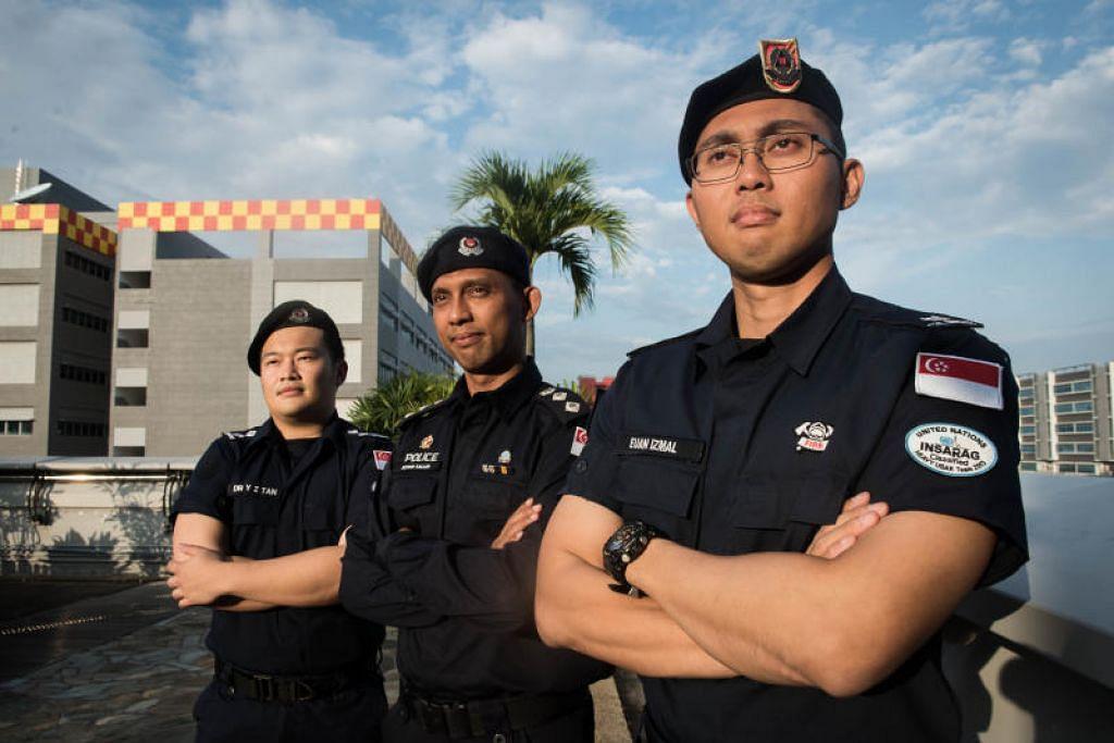 HULUR BANTUAN: Pegawai Pasukan Menyelamat dan Bantuan Bencana (Dart) SCDF, Mejar Seloterio Euan Izmal Ilyas, 35 tahun (kanan); Komander Kontinjen Pasukan Polis Singapura (SPF), Superintenden Sofian Salleh, 45 tahun (tengah); dan Kapten (CPT) (Dr) Tan Yuan Zi, 27 tahun, antara mereka yang dikerahkan ke Laos bagi misi bantuan bencana dan pemulihan mangsa baru-baru ini. FOTO: SYAMIL SAPARI