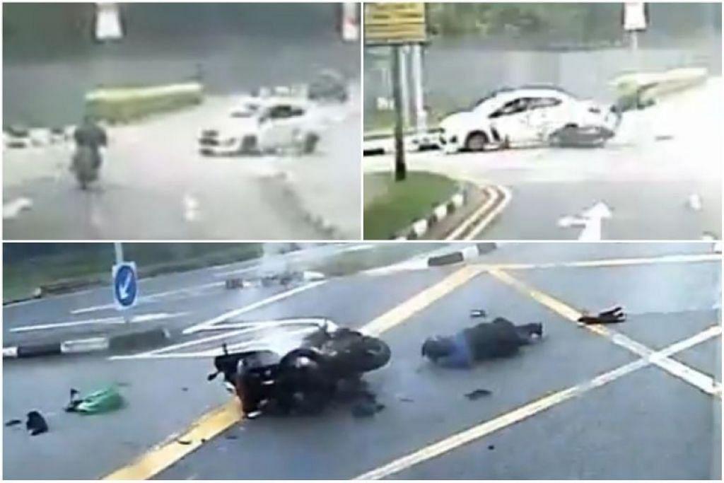 Sebuah kereta putih membelok ke kanan dan memotong laluan seorang penunggang motosikal, menyebabkannya terpelanting. Tidak lama lagi, perbuatan pemandu ini akan dinilai di mahkamah mengikut undang-undang baru.