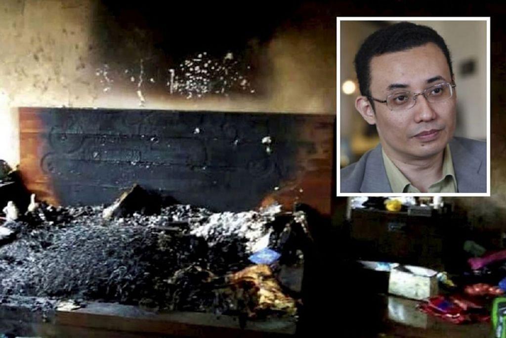 """KESAN PETROL: Menurut mesej yang tular di media sosial, Allahyarham Nazrin mengambil ubat bagi migrain dan mengecas telefon bimbitnya sebelum tidur. Telefon itu """"terlalu panas dan meletup"""" mengakibatkan kebakaran pada katil (atas) dan kematian beliau. Namun, siasatan forensik oleh Jabatan Bomba dan Penyelamat Malaysia """"menunjukkan ada kesan petrol di lokasi kejadian"""". - Foto NSTP"""
