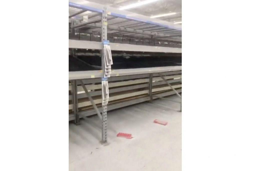 KOSONG: Para kosong di sebuah pasar raya sedang penduduk membuat persiapan menjelang ketibaan ribut Florence di kawasan Columbia, Carolina Selatan. - Foto REUTERS