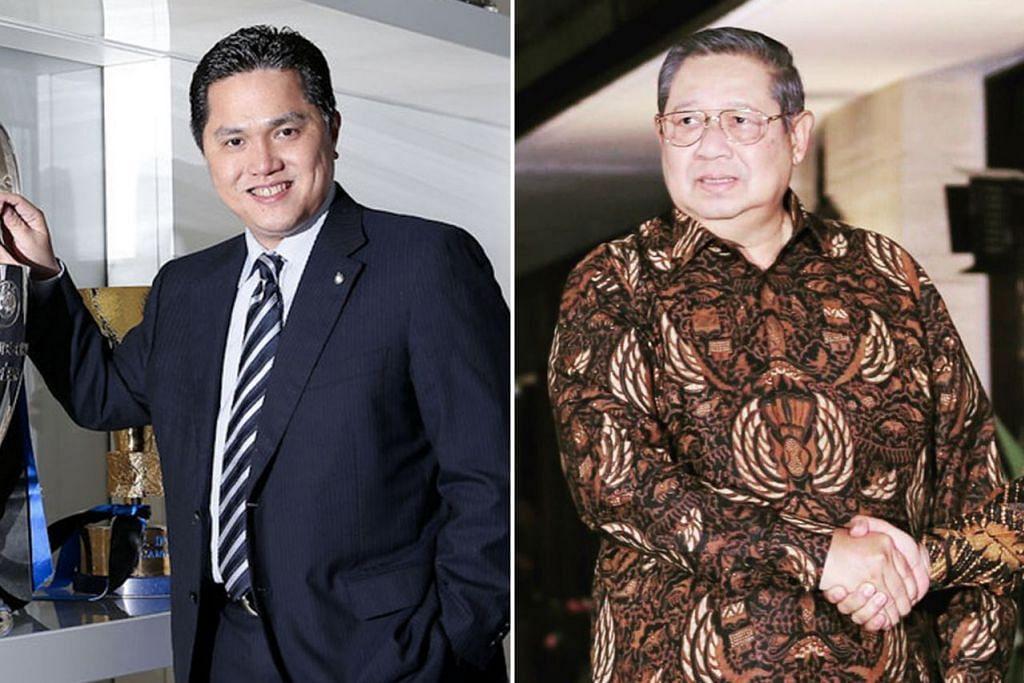 SAMA-SAMA TOKOH: Encik Thohir (kiri) dijangka memperkuat kempen Presiden Jokowi dengan kepimpinan dan pengurusan baiknya, manakala Encik Yudhoyono akan berusaha menarik undi terutamanya di Jawa Timur bagi Encik Prabowo. - Foto FC INTERNAZIONALE, REUTERS