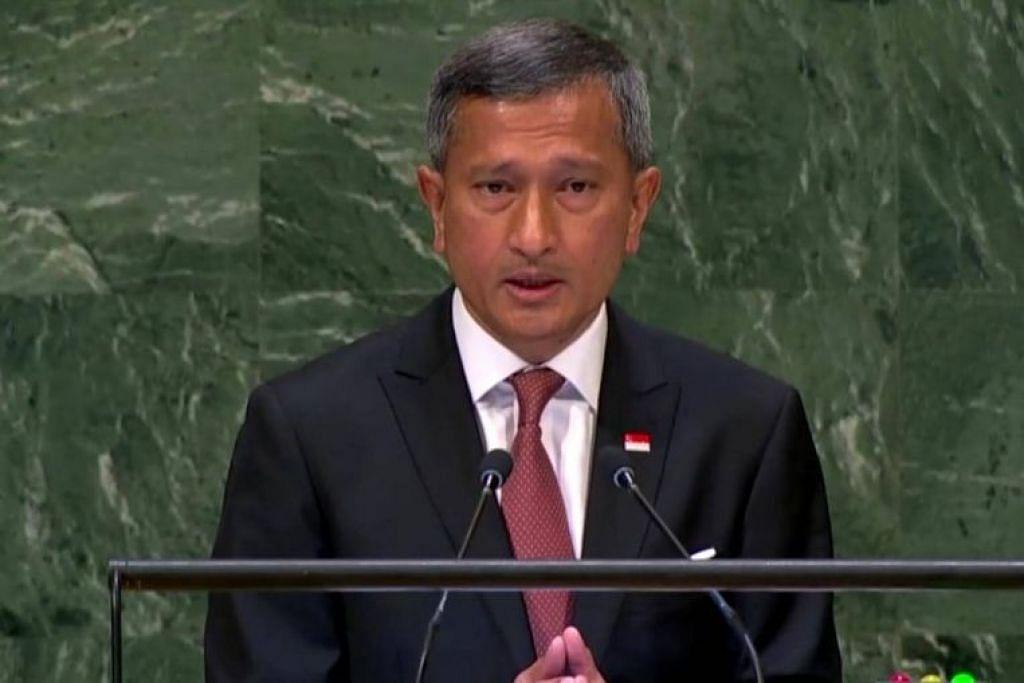 Menteri Ehwal Luar Singapura, Dr Vivan Balakrishnan, berucap di Perhimpunan Agung PBB di Manhattan pada 29 September 2018.