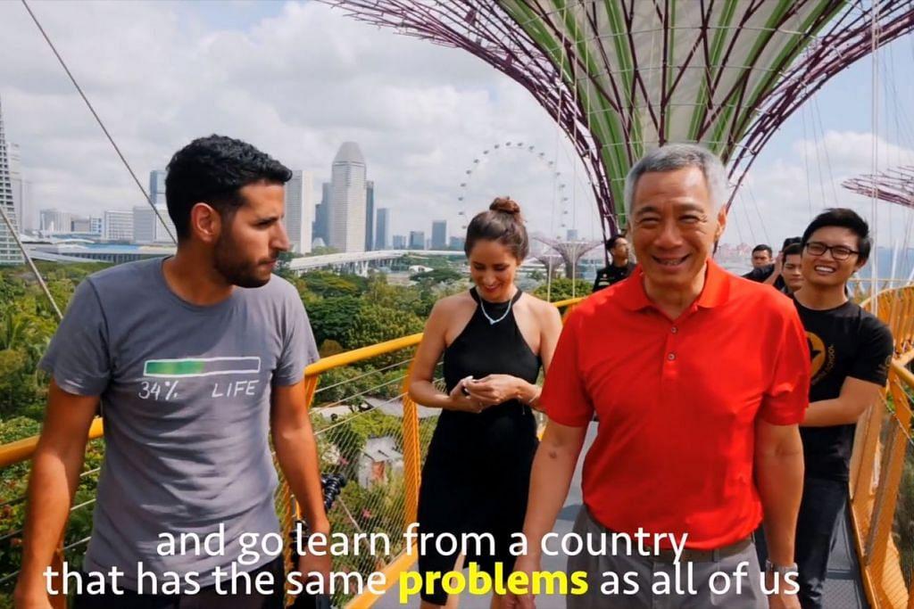 PERSPEKTIF WARGA ASING: Video terbitan Encik Nuseir Yassin (kiri) antara lain memaparkan pengamatannya tentang kehidupan di Singapura. Video tersebut juga menampilkan Perdana Menteri Lee Hsien Loong (kanan). - Foto tangkap layar video NAS DAILY