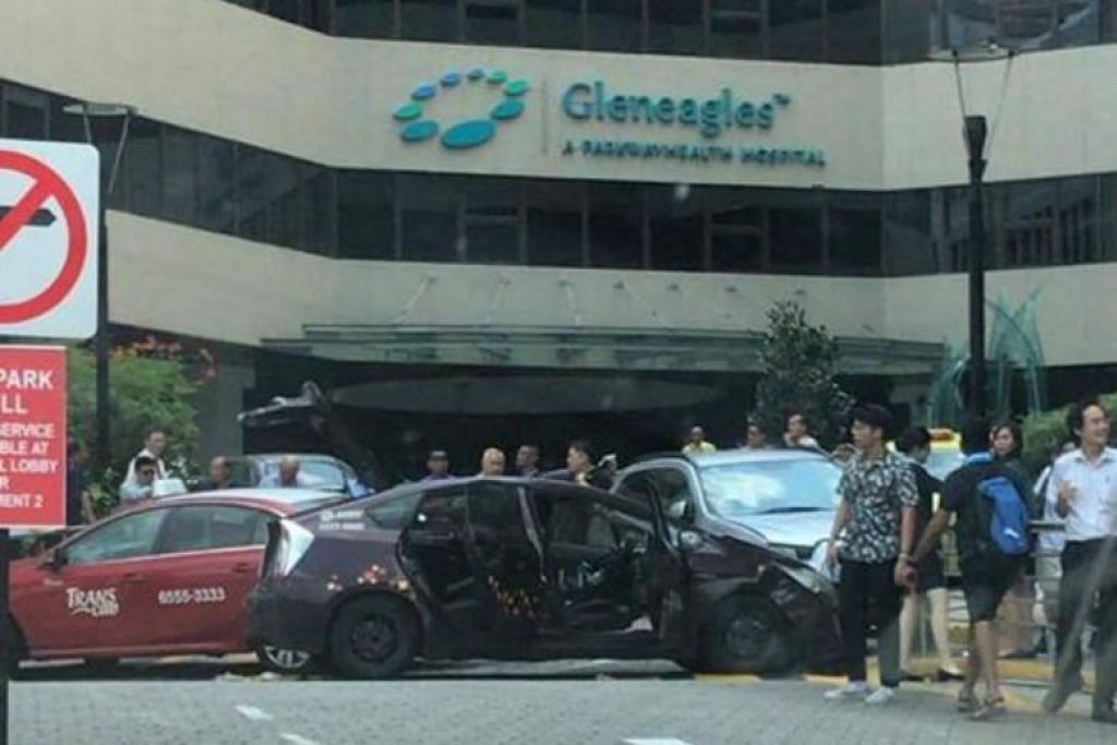 Taxi driver taken to NUH after four-car accident outside Gleneagles Hospital entrance