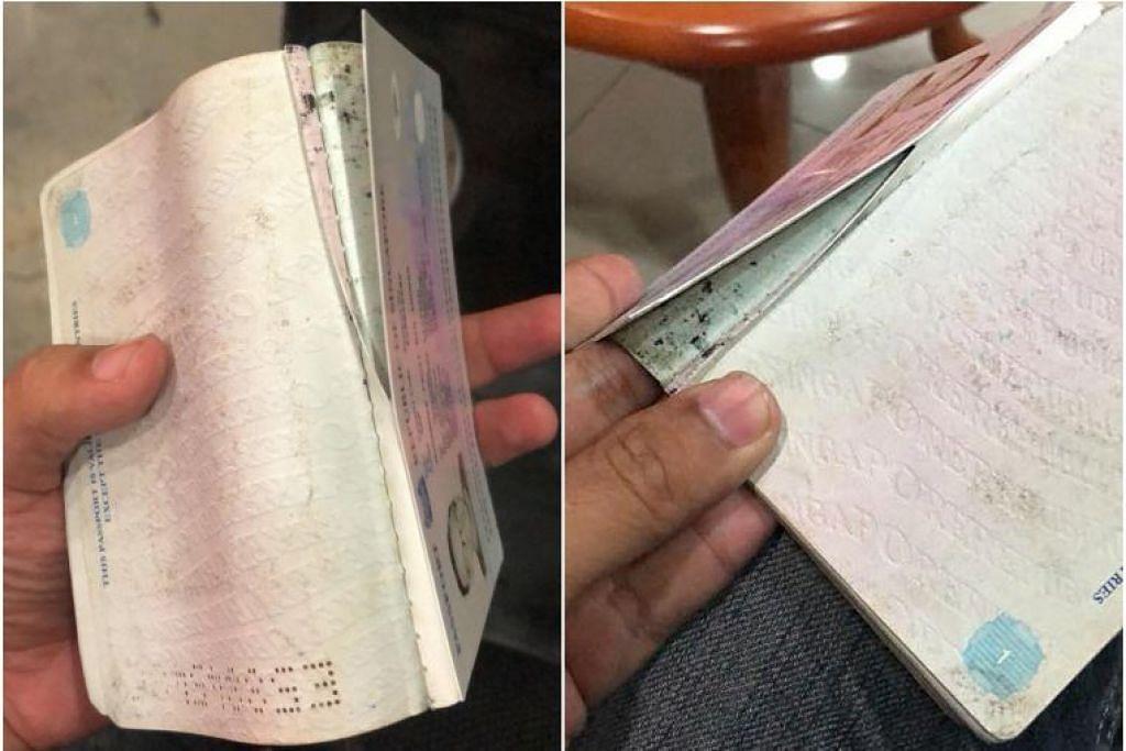 Warga Singapura Encik Muhammad Fauzi mendakwa pasportnya dikoyakkan oleh pegawai imigresen Malaysia. Foto: MUHAMMAD FAUZI dan SHIN MIN DAILY NEWS