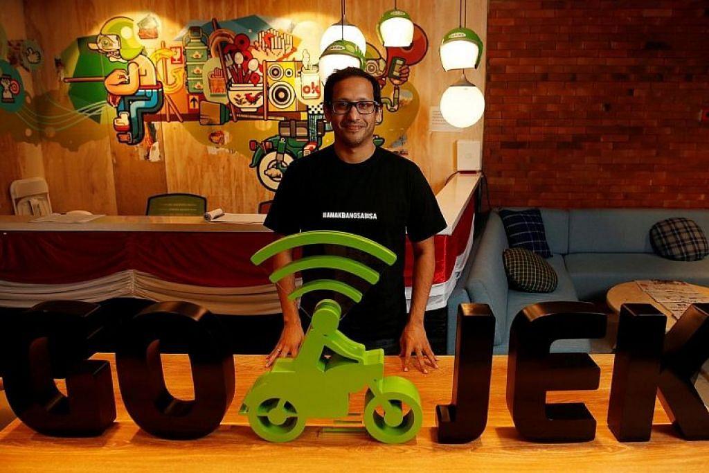 PESAING BARU DI PASARAN SETEMPAT: Go-Jek dibentuk oleh pengasasnya Nadiem Makarim pada 2010 dan dijangka menawarkan khidmat lain melebihi khidmat memanggil pengangkutan di Singapura.