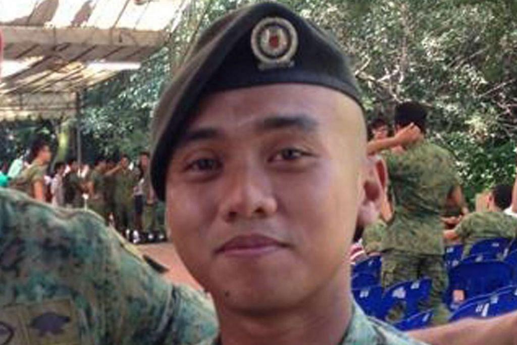 PENGHORMATAN TERAKHIR: Jenazah pegawai SAF, Pegawai Waran Ketiga (3WO) Muhammad Sadikin Hasban (gambar atas), yang meninggal dunia selepas dihempap dahan pokok di Brunei diberi penghormatan pengebumian tentera di Pusara Aman petang semalam. - Foto-foto BH oleh LIM YAOHUI, FACEBOOK MUHAMMAD SADIKIN HASBAN