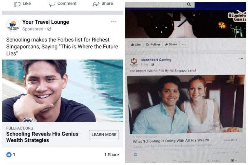 Iklan yang menggunakan nama dan gambar Joseph Schooling timbul di Facebook. Foto: FACEBOOK